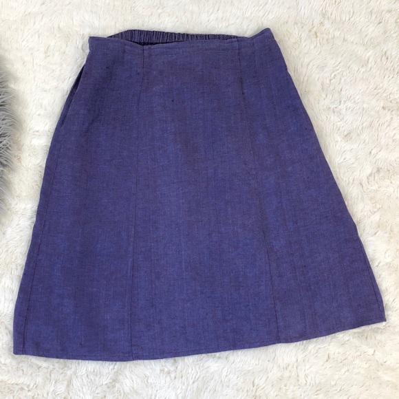 f8604f6aee Flax Dresses   Skirts - FLAX Skirt Purple Linen A-Line Midi Paneled